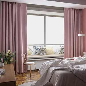 NAPEARL Blackout Curtains for Bedroom, Thermal Curtains 100% Blackout Lined Curtains, Pinch Pleat Curtains with Hooks for Living Room, Set of 2 Panels ( 40 x 84 Inch, Baby Pink )