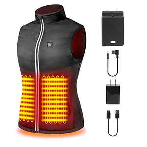 Heated Vest with 5 Heating Zone Size Adjustable Black Heated Jacket for Women Heated Sweatshirt Electric Warm Vest for Outdoor Sport Like Hiking Camping Motorcycle