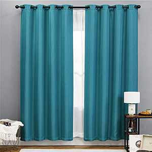 Bedsure Linen Curtains 96 inch Length 2 Panels Set, Blackout Teal Curtains for Living Room,Linen Textured Drapes (52x96inch,Teal)