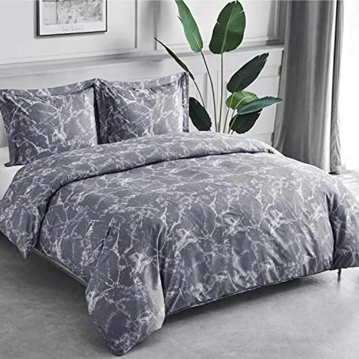 Bedsure Duvet Cover Set King - Marble Pattern Microfiber Bedding Sets 3 pcs with Zipper Closure, Grey, 230x220cm