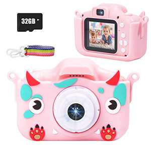 JLtech Kids Camera, Rechargeable Shockproof Mini Children Camera Toys with 32GB Card Included,Digital Camera Toys for 2-13 Years Old Girls Boys Gift (Light-Pink)