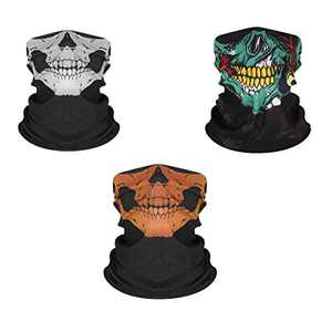 Carnival Skull Face Mask for Men Women, Bandana, Headwrap 3pcs Multi-Color