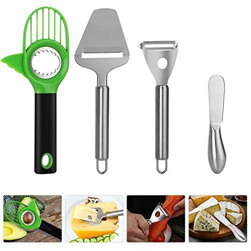 Premium Stainless Steel Cheese Slicer Plane Cutter Shaver Butter Spreader Knives Great for Spreading Cheese Jams Butter, Comfortable Ergonomic Grip Vegetable Fruit Peeler and Avocado Cutter Slicer
