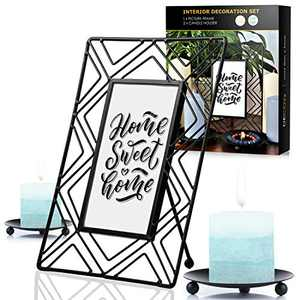 Home Interior Decoration Set - One 4x6 Scandinavian Black Picture Frame and 2 Black Candle Holders for Pillar Candles – 10x15 Cm Iron Wire Geometric Photo Frame and 2 Iron 4.6 Inches Candle Plates
