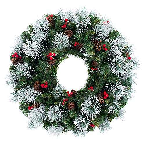 Artificial Christmas Garland and Wreath,Decorated with Pine Cone and Red Berries (White Pine Wreath)