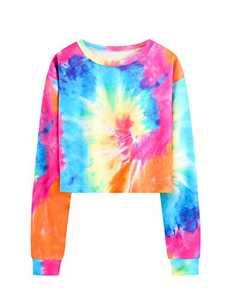 DIDK Women's Tie Dye Crop Top Long Sleeve Tee Sweatshirt Multicolor L