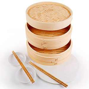 10 Inch Bamboo Steamer Basket, 2 Tier Asian Kitchen Bamboo Steamer for Cooking Dumplings, Fish, Vegetables and Dim Sum, 100PCS Paper Liners, 2 Pack Sauce Dishes and 2 Pairs of Chopsticks Included