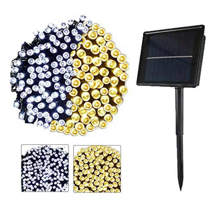 Solar Outdoor String Lights 72ft 200 LED White and Warm Changing in One Light Waterproof Lighting for Christmas, Holiday Decoration, 8 Modes Fairy Lights, 2 Color in one (Warm+White)