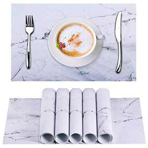 BSSN Marble Placemats Set of 6,Weave Foldable Table Mats,PVC Waterproof Heat-Resistant Anti-Slip Washable for Dining Kitchen Party Farmhouse Ideal Gift(Marble Printing)