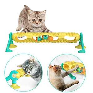 AmazeFan Cat Track Ball Toy with Sucker,Fun Levels of Interactive Play - Circle Track with Cat Mint Ball Glowing Ball Satisfies Hunting, Chasing & Exercising Needs Suitable for Multiple Cats