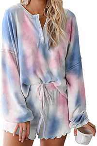 Women Pajama Set Long Sleeve Soft Top and Pants 2 Piece Sleepwear Loungewear Pjs Blue