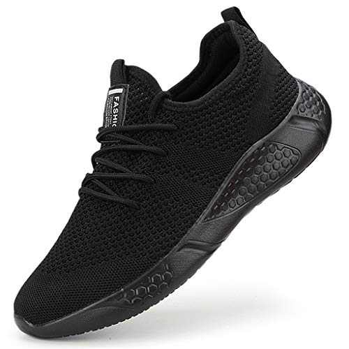 Damyuan Men's Athletic Walking Shoes Lightweight Gym Mesh Comfortable Trail Athletic Running Shoes Black,11