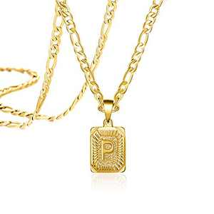 Joycuff Long Chain Gold Initial Necklace for Women Men Mom Dad Son Daughter Boyfriend Fashion Letter P 18K Trendy Figaro Chain Square Stainless Steel Pendant