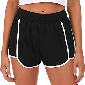 Sykooria Women's Yoga Elastic Waist Shorts Sports Workout Lounge Running Athletic Short with Side Pockes(S-Black,XX-Large)