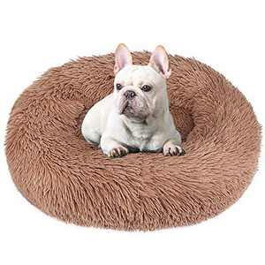 BABYLTRL Dog Bed Cat Bed Donut, Faux Fur Pet Bed Comfortable Cuddler Round, Ultra Soft Calming Dog Bed for Small Medium Large Dogs