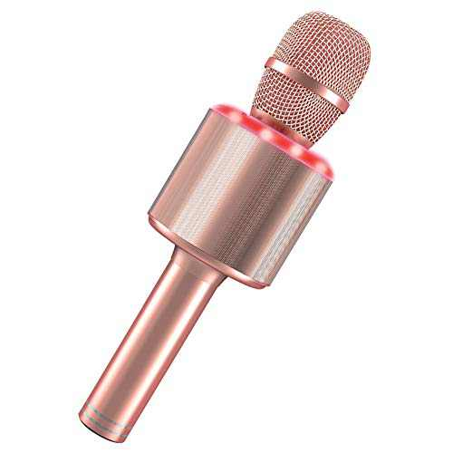 Wireless Karaoke Microphone, 4-in-1 Portable Handheld Karaoke Mic Speaker Player with Led Lights for Kids Adults Birthday Gifts Party KTV - Pink