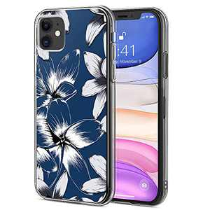 Ballaber for iPhone 11 Case Crystal Clear Flower Thin Slim Girls Women Hard Back Case with Soft TPU Bumper Shockproof Protective Cover for Apple iPhone 11 6.1 inch