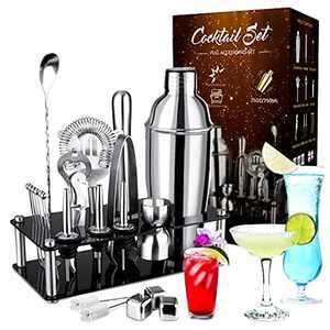 Cocktail Making Set,INPHER 23 PCS Cocktail Shaker Set 750 ml Cocktail Mixer Stainless Steel Bar Tool Bartender Kit with Acrylic Display Stand for Bar Party GiftChristmas Birthday