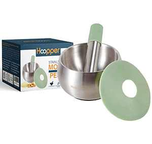 Hoopper Stainless Steel Mortar and Pestle,Pill Crusher,Spice Grinder,Herb Bowl,Large Bowl with Silicone Lid,Stainless-Steel Kitchen Accessory