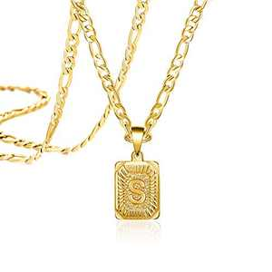 Joycuff Long Chain Gold Initial Necklace for Women Men Mom Dad Son Daughter Boyfriend Fashion Letter S 18K Trendy Figaro Chain Square Stainless Steel Pendant