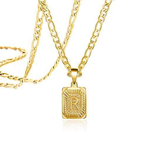 Joycuff Initial Necklaces for Men Women Teen Girls Boys Best Friend 18K Gold Letter R Stainless Steel Figaro Chain Monogram Fashion Trendy Pendant Medallion Memorial Gifts Loss of Loved One