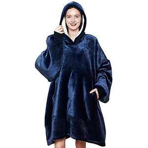 Plush Wearable Fleece Sleeves Blanket,Cozy Extra Soft Sherpa Sweatshirt Throw,Poncho Oversized Pocket for Adults