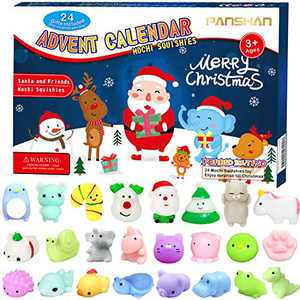 PANSHAN Christmas Advent Calendar 2021 Soft Rubber Toy Christmas Advent Calendars Gift 24Pcs for Kids Kawaii Animals Santas Toys Xmas Countdown Calendar