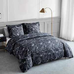 Bedsure Duvet Cover Set Double - Marble Pattern Microfiber Bedding Sets 3 pcs with Zipper Closure, Black, 200x200cm