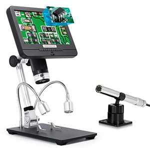 "Andonstar AD206S 7"" LCD Digital Microscope with 80X Endoscope, Picture in Picture, Coin USB Video Microscope Camera Recorder, Microscopio for Adults Kids, Coin Inspection PCB Soldering Watch Repair"