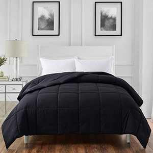ELNIDO QUEEN All-Season Black Down Alternative Quilted Comforter- Corner Duvet Tabs-Machine Washable-Duvet Insert or Stand-Alone Lightweight Comforter-King Size(102×90 Inch)