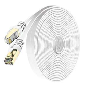 Cat7 Ethernet Cable 50ft Shielded (STP), Oxygen-Free Copper(OFC) - High Speed 32AWG LAN Network Cable with Gold Plated RJ45 Connector for Router, Modem, Gaming, POE, PS3, PS4, X-Box (White)