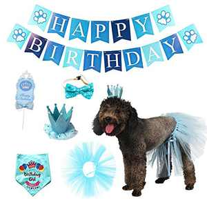 Impoosy Dog Birthday Bandana with Hat Banner Outfits Set Dogs Bow Tie Scarf Cake Topper Birthday Party Supplies Decorations (Blue)