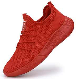Damyuan Men's Sneakers Lightweight Breathable Sports Shoes Walking Shoes Red,8.5