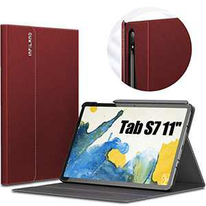 INFILAND Galaxy Tab S7 Case, Multiple Angle Stand Cover Compatible with Samsung Galaxy Tab S7 11-inch SM-T870/T875/T876 2020 Release Tablet [Auto Wake/Sleep], Dark Red