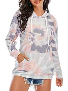 St. Jubileens Women's Color Block Long Sleeve Loose Pullover Hoodie Sweatshirt Tops with Pockets Multicolor_2 L