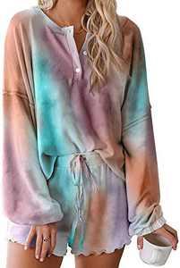 Women Pajama Set Long Sleeve Soft Top and Pants 2 Piece Sleepwear Loungewear Pjs