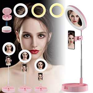 Lesirit Selfie Ring Light with Stand USB Power LED Ring Light with Phone Holder for Vlog Makeup Video (Pink)