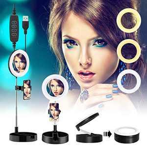 Lesirit Selfie Ring Light with Stand USB Power LED Ring Light with Phone Holder for Vlog Makeup Video (Black)