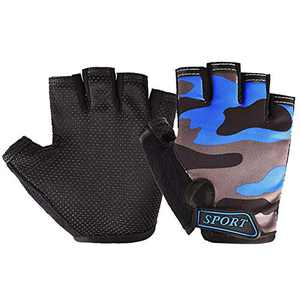 Freehawk Kids Cycling Gloves,Non-Slip Ultrathin Children Half Finger Bicycle Cycling Breathable Gloves Roller-Skating Gloves for Fishing, Cycling, Roller Skating and Climbing (Dark Gray Camo)