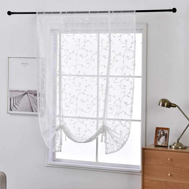 Qucover Roman Blinds Curtains White Embroidery Floral Voile Net Curtain 54 Drop, Tie Up Sheer Blinds for Small Windows Bedroom Bathrooms (Width 80cm)