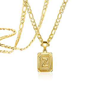 Joycuff Long Chain Gold Initial Necklace for Women Men Mom Dad Son Daughter Boyfriend Fashion Letter Z 18K Trendy Figaro Chain Square Stainless Steel Pendant