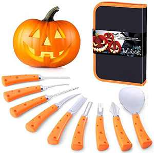 Halloween Pumpkin Carving Kit, 9 Pieces Professional Pumpkin Carving Tools Set Stainless Steel Jack-O-Lanter Carving Knife Set for Halloween Decoration