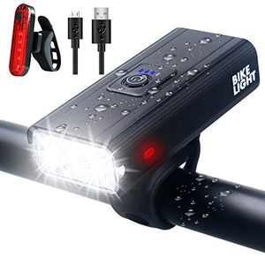 Bike Lights, gebalage Ultra Bright USB Rechargeable Bike Light Set, IPX6 Waterproof Cycling Front Headlight and Back Taillight, 6 Light Modes