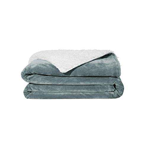 ZonLi Plush Weighted Blanket 12 lbs(48''x72'', Grey), Twin Size Weighted Blanket, Soft Fleece Heavy Blanket with Glass Beads