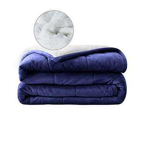 """Syrinx Sherpa Weighted Blanket (20 lbs, 60""""x80"""", Navy Blue/White) Queen Size Soft Weighted Blanket with Glass Beads"""