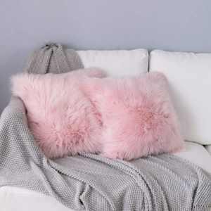 TIDWIACE Set of 2 Fluffy Soft Square Pillow covers - Luxury Faux Fur Whtie 40x40cm Throw Decorative Pillow Cover Plush Pillow Case Faux Fur Cushion Covers For Livingroom Sofa Bedroom Car