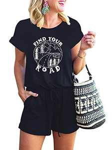 ANRABESS Women's Find Your Road Casual Crewneck Short Sleeve Printed Short Jumpsuit Romper with Pockets A233letter2-zanglan-L