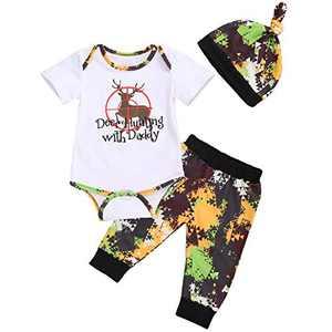 Newborn Baby Boys Long Sleeve Letters Deer Romper Bodysuit Pants Hat Outfit Clothes Set (0-6 Months, Camo 1 Short Sleeve)