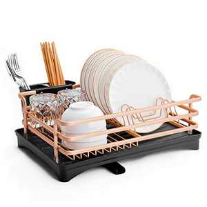Dish Drying Racks with Utensil Holder, Aluminum Rustproof Dishes Drainer and Removable Drainboard for Kitchen Counter, Drain Board with Adjustable Swivel Spout (Champagne gold, 1 Tier)