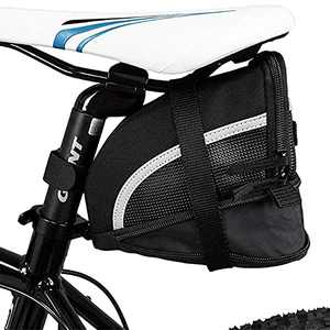 Iwinna Bike Seat Bag, Bicycle Under Seat Pack, Cycling Shockproof Bike Seat Storage Pouch for Mountain Road Bicycle Accessories, Expanded from 1L to 1.5L, Black